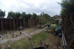 Landscaping with Water Feature in Kingsbury (Before)